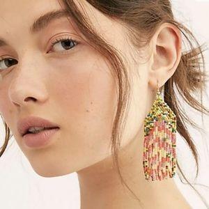 Free People Hanging Earring Hook Multi Bead Fringe